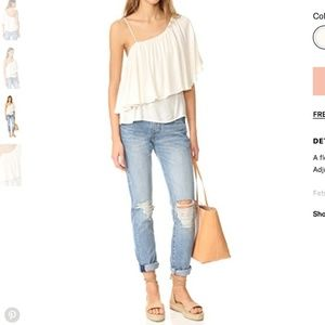 Ella Moss Stella One Shoulder Draped Overlay Top S